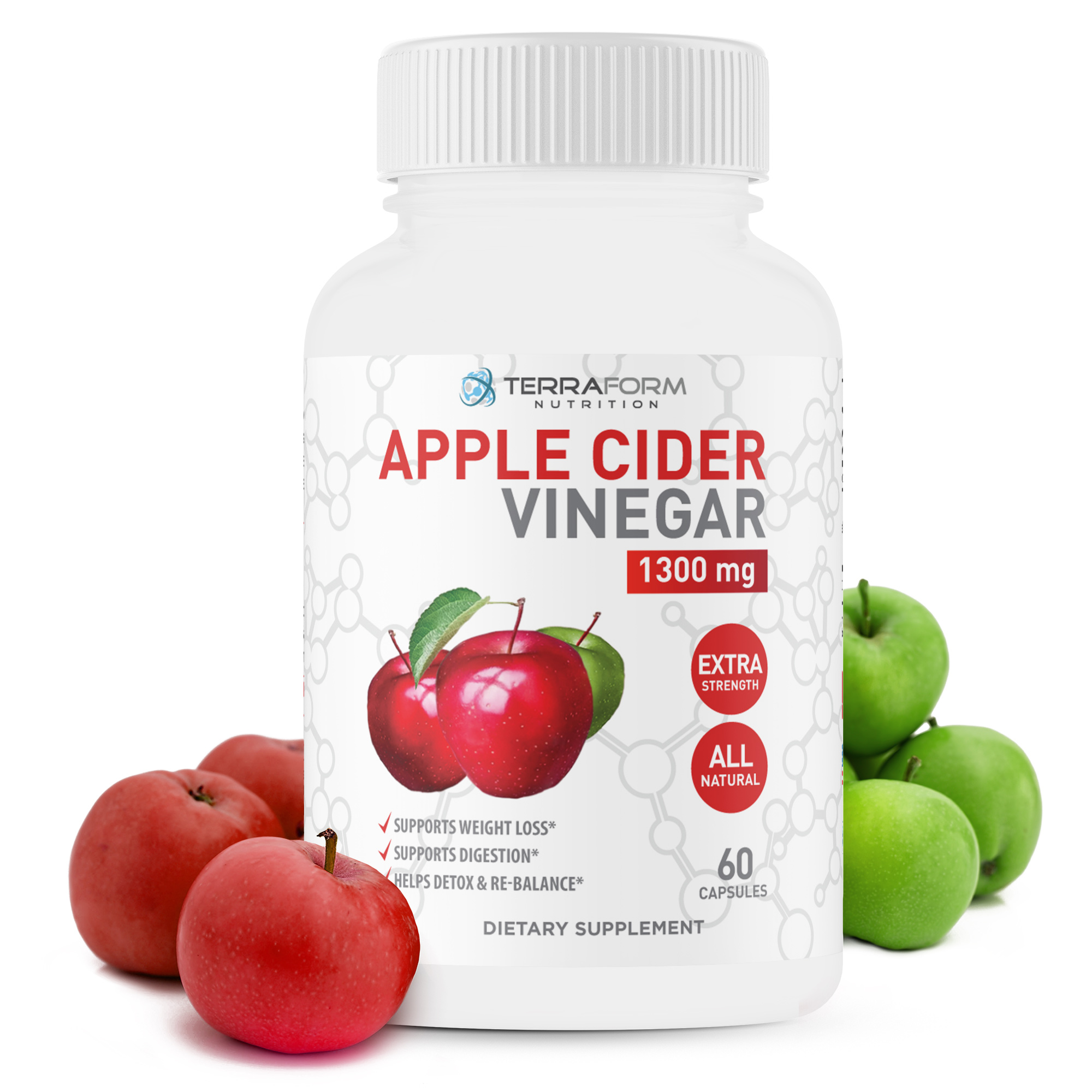 Pure Apple Cider Vinegar Capsules 1300mg Supports Weight Loss