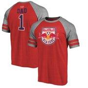 New York Red Bulls Fanatics Branded Greatest Dad Two Stripe Raglan T-Shirt - Red