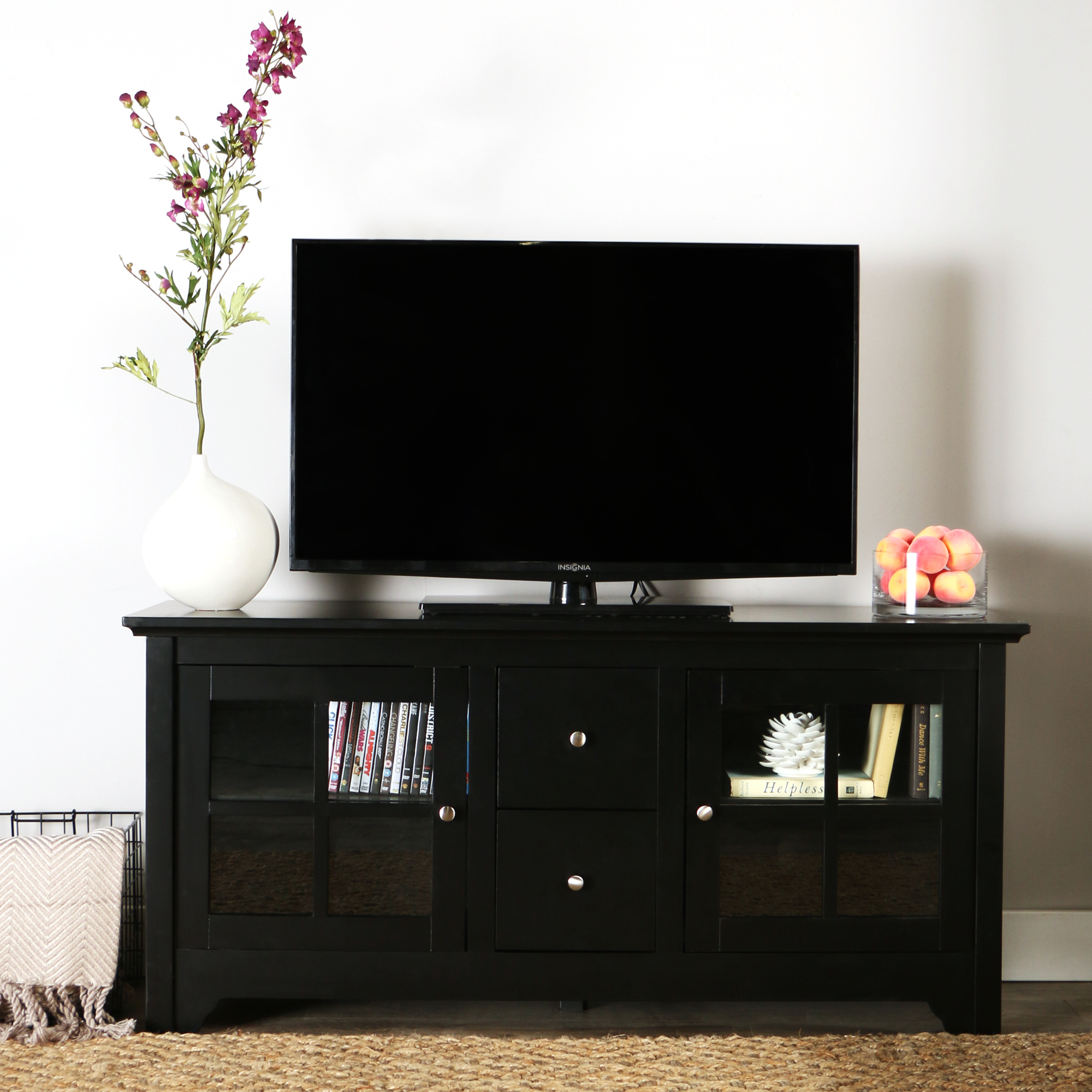"""52"""" Transitional Wood Glass Media TV Stand Storage Console Entertainment Center for TVs up to 55"""" - Black"""
