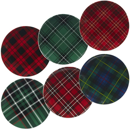 Christmas Plaid Set/6 Dessert Plate 8.25