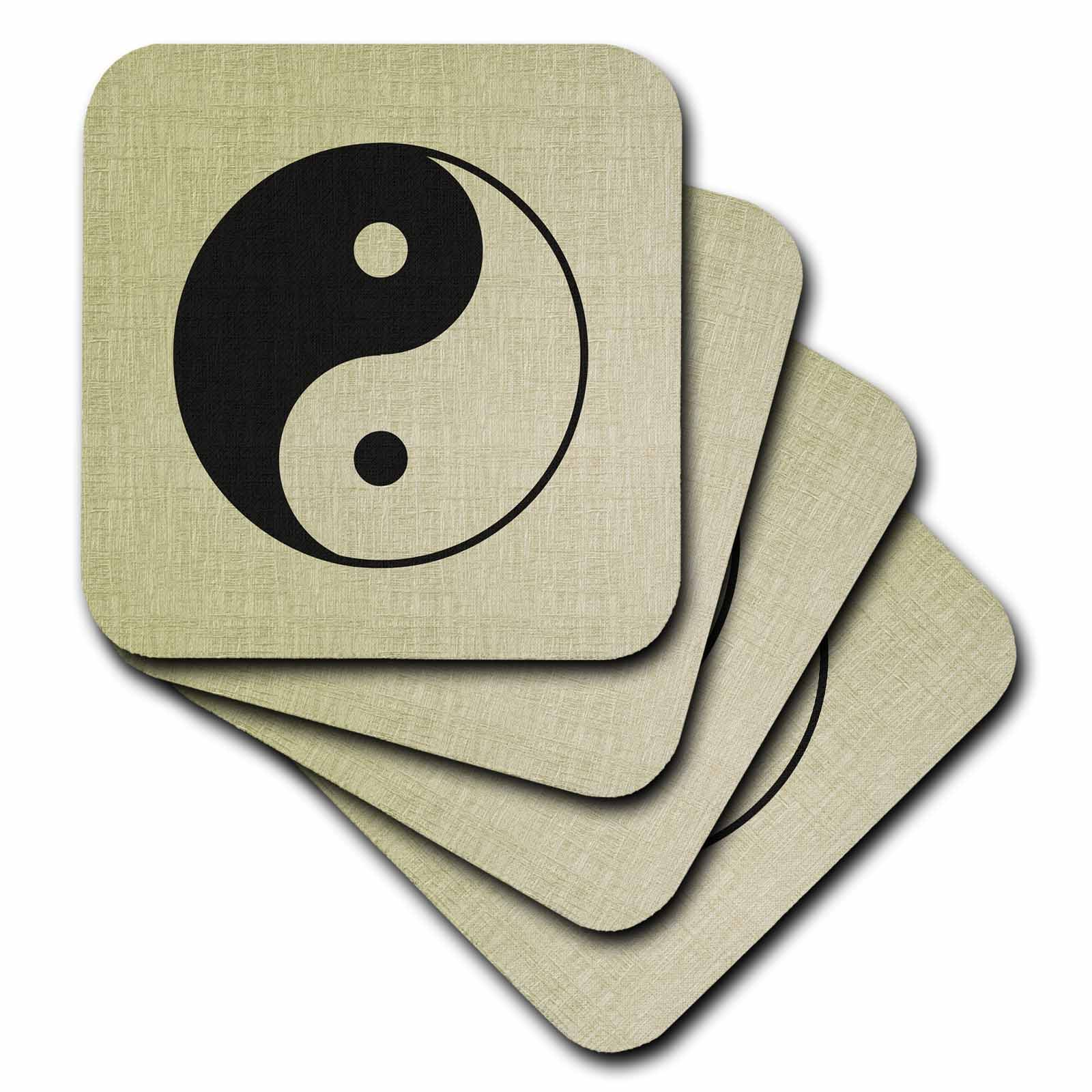 3dRose cst/_162273/_1 Textured Zen Yin Yang-Spirituality-Soft Coasters Set of 4
