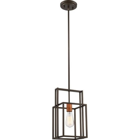 Mini Pendants 1 Light With Bronze with Copper Accents Finish Medium Base 8 inch 60 Watts