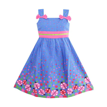 Girls Dress Blue Ladybug Pink Dot Children Clothing - Pari Dress For Kids