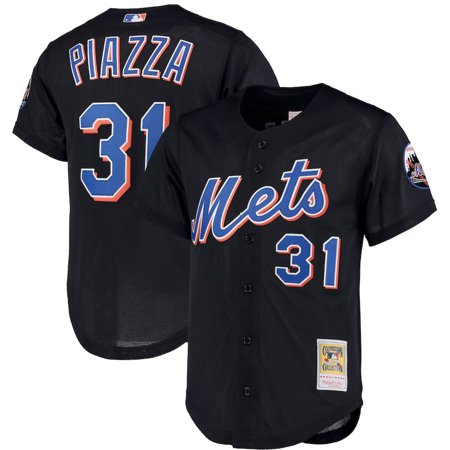 Mike Piazza New York Mets Mitchell & Ness Big & Tall Cooperstown Collection Mesh Button-Up Jersey- Black