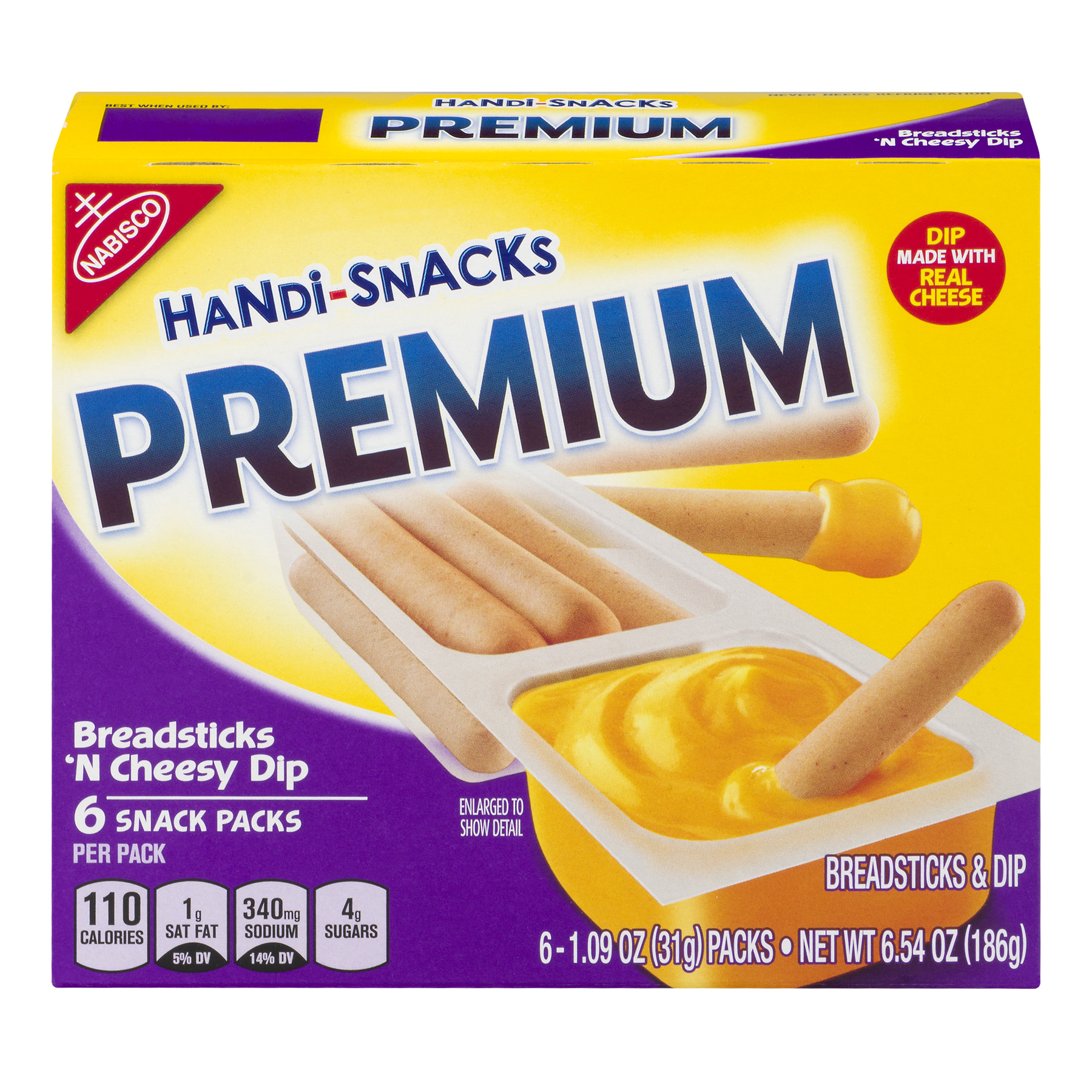 Nabisco Handi-Snacks Premium Snack Packs Breadsticks 'N Cheesy Dip - 6 CT1.09 OZ