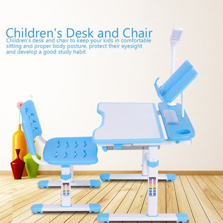 Excellent Adjustable Height Childrens Desk And Comfortable Chair Set With Lamp Kids Study Table 100 240V Children Desk Chair Set Gmtry Best Dining Table And Chair Ideas Images Gmtryco