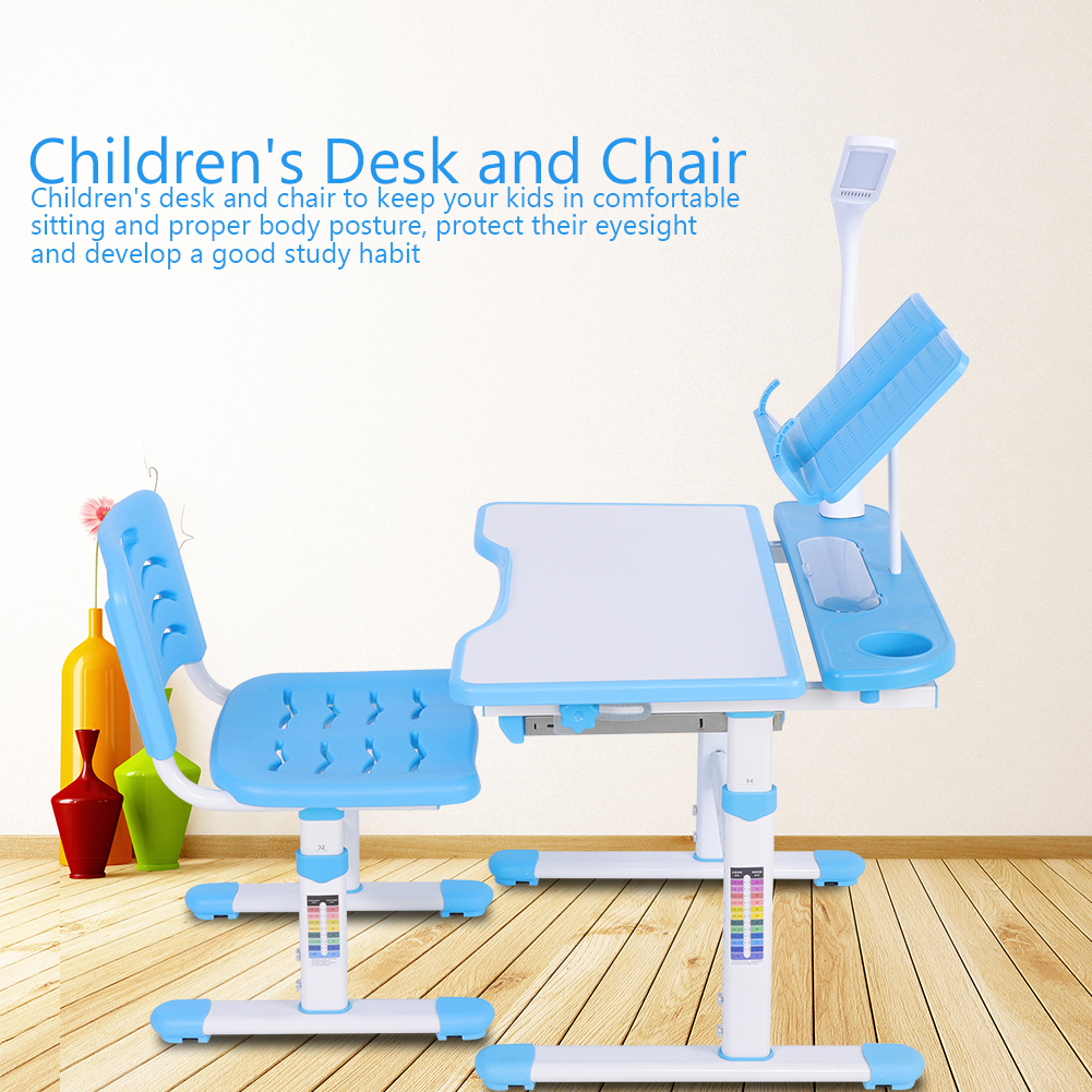 Charmant Yosoo Adjustable Height Childrenu0027s Desk And Comfortable Chair Set With Lamp  Kids Study Table 100~240V, Children Desk Set, Study Desk Chair   Walmart.com