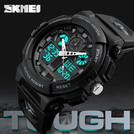 - SKMEI 1270 Dual Display Digital Waterproof Men Sports Watches With Backlit For Men & Boys Holiday Gifts, gray,