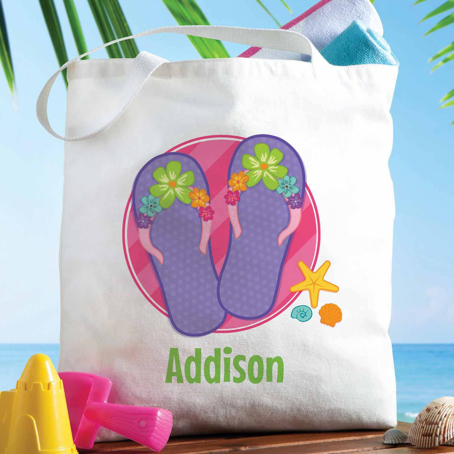 Personalized Floral Flip Flops Tote Bag