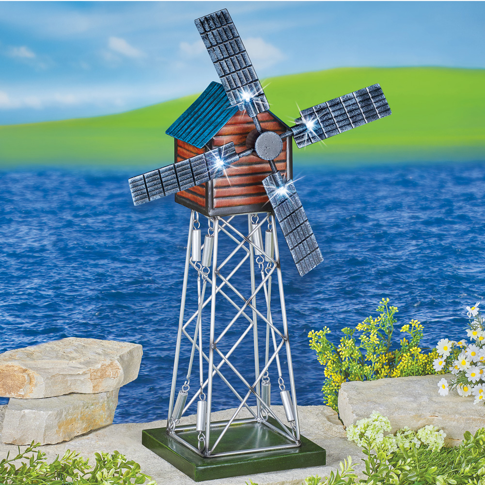 Solar Windmill Garden Spinner Unique Lighted Metal Outdoor Yard Art  Decoration, ...
