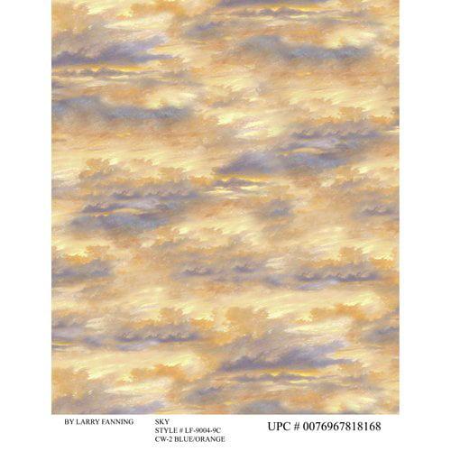 David Textiles, Inc. Wildlife Sky, Blue/Orange, 1yd
