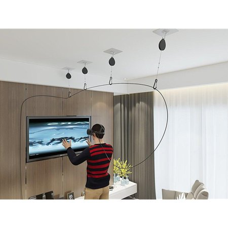 Skywin Vr Cable Management System For Oculus Rift Virtual Reality Headset   Play Vr Games Without Wire Worries   Easy Drill Free Installation