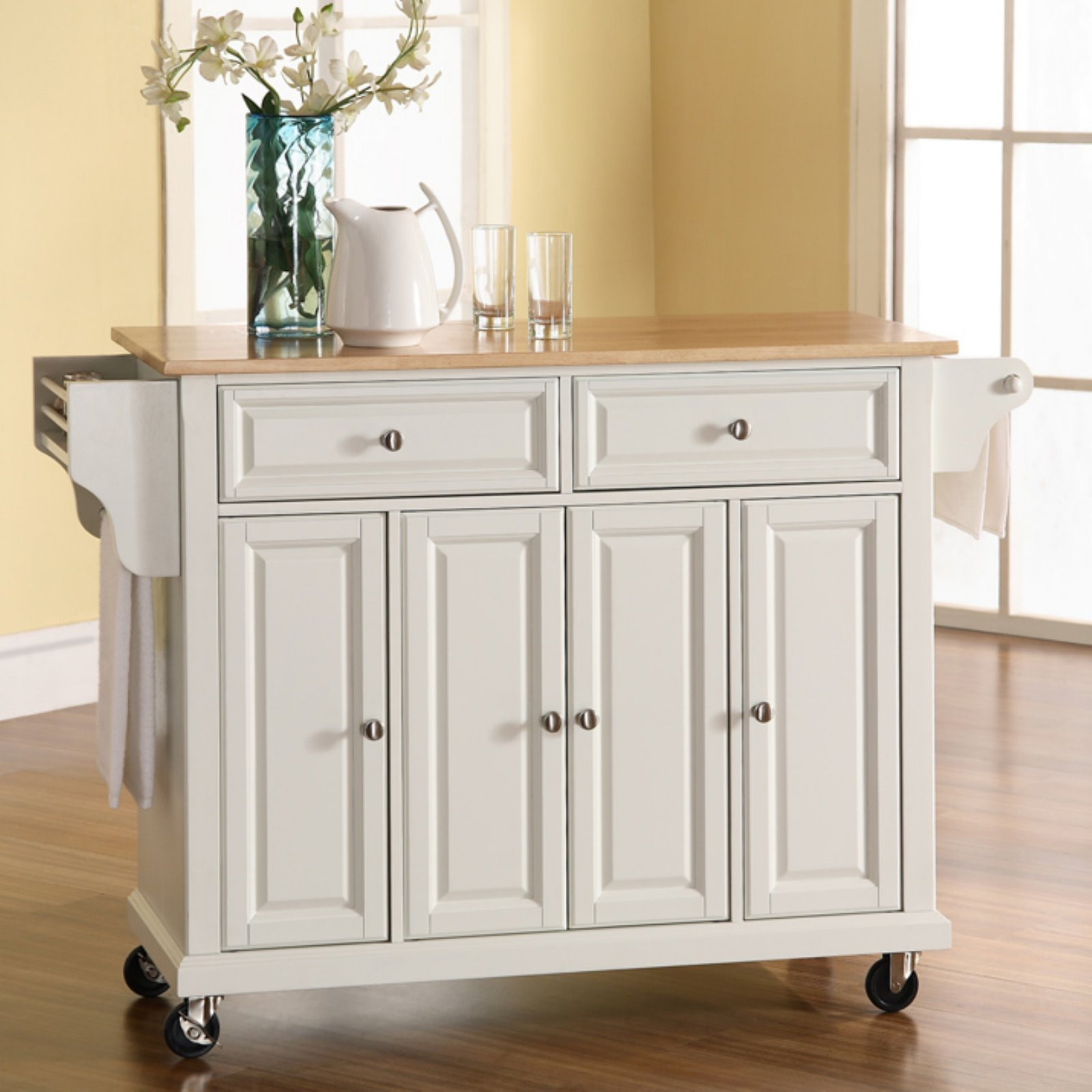 Crosley Furniture Natural Wood Top Kitchen Cart Walmart
