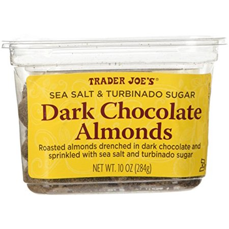 Trader Joe's Sea Salt & Turbinado Sugar Dark Chocolate Almonds 10 oz (Trader Jobs)