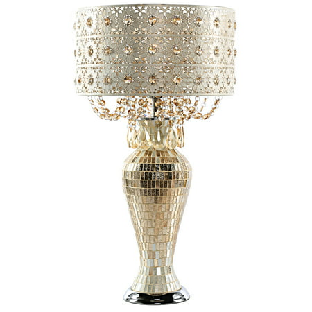 Poetic Wanderlust by Tracy Porter Solvang Jeweled Metal and Mosaic Base Table Lamp with Cascading Crystals