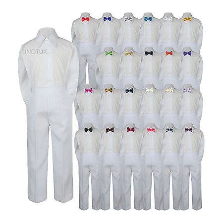 23 Color 3pc Set Bow Tie Boy Baby Toddler Kids Formal Suit Shirt White Pants