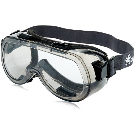 Elastic Foam Strap - 2410F Verdict Polyvinyl Chloride Strap Foam Lining Safety Goggle with Smoke Frame and Clear Anti-Fog Lens, Verdict elastic strap foam lining safety goggle with.., By MCR Safety