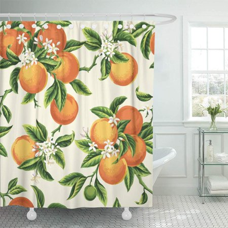 PKNMT Yellow Blossom with Orange Fruits Flowers and Leaves on Light Green Vintage Botanic Shower Curtain Bath Curtain 66x72