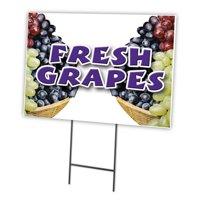"FRESH GRAPES 12""x16"" Yard Sign & Stake outdoor plastic coroplast window"