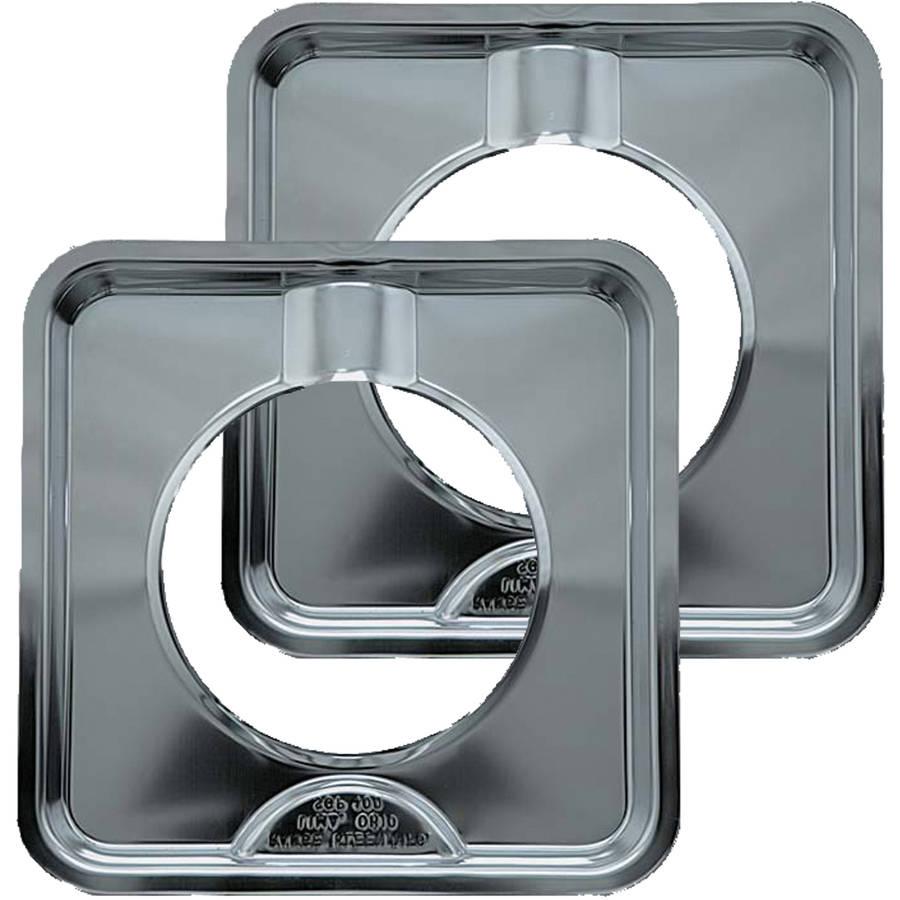 Range Kleen Drip Pans, Style I, Chrome, Set of 2