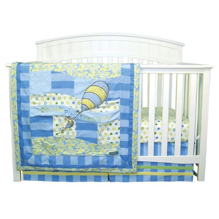 Dr. Seuss Oh The Places Youll Go Blue Three Piece Crib Bedding Set