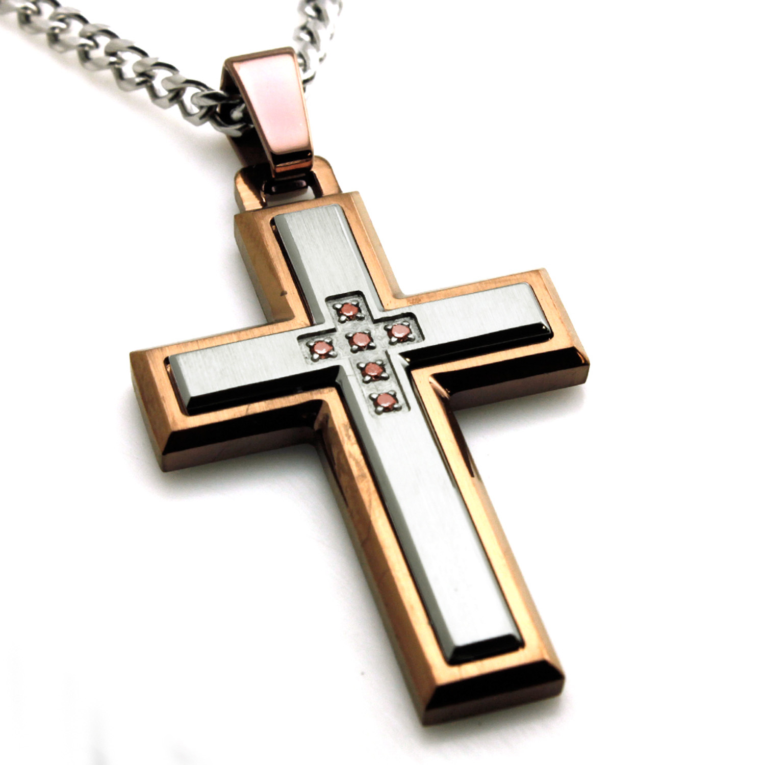 Two-Tone Stainless Steel Layered Cubic Zirconia Cross Pendant