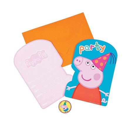 Halloween Birthday Invitation Wording (Peppa Pig Invites (8pc) for Birthday - Party Supplies - Licensed Tableware - Licensed Invitations - Birthday - 8)