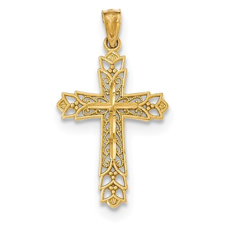 14k Yellow Solid Gold Polished Filigree Cross Pendant for Necklace