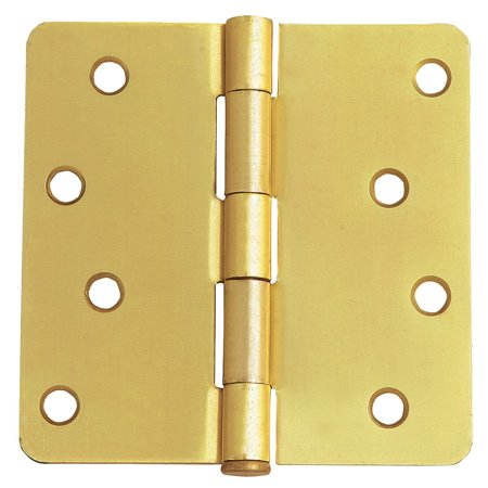"Design House 202531 8-Hole Door Hinge 4"", Satin Brass, 2 Pack"
