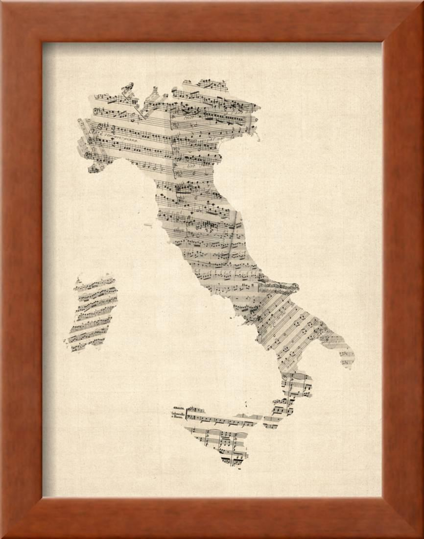Italy Map Wall Art.Old Sheet Music Map Of Italy Map Framed Print Wall Art By Michael