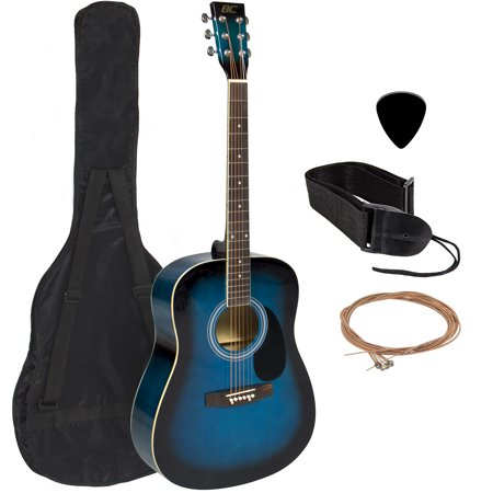 Guitar Dark Wood - Best Choice Products 41in Full Size All-Wood Acoustic Guitar Starter Kit w/ Case, Pick, Shoulder Strap, Extra Strings - Blue
