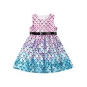 Girls Mermaid Princess Dress Kids Baby Party Wedding Pageant Sundress Clothes Belt Dress