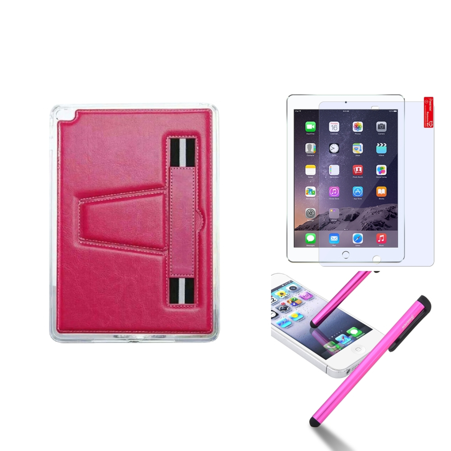 Insten For iPad Air 2 TPU Gel Rubber Soft Skin Case Cover w/ Stand+Protector+Pen Hot Pink