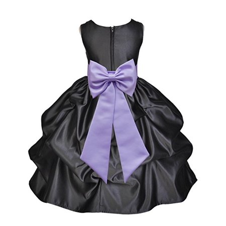 Ekidsbridal Black Satin Pick-Up Flower Girl Dress Junior Toddler Formal Special Occasions Dresses Wedding Pageant Recital Reception Birthday Party Girl Princess Ball Gown Dance - Arabic Belly Dance Dress