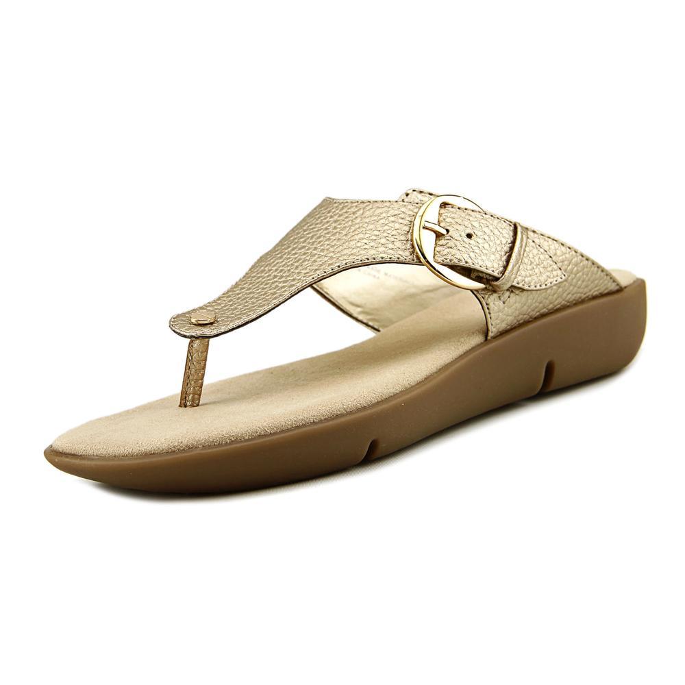 Aerosoles Texas Women Open Toe Synthetic Gold Thong Sandal by Aerosoles