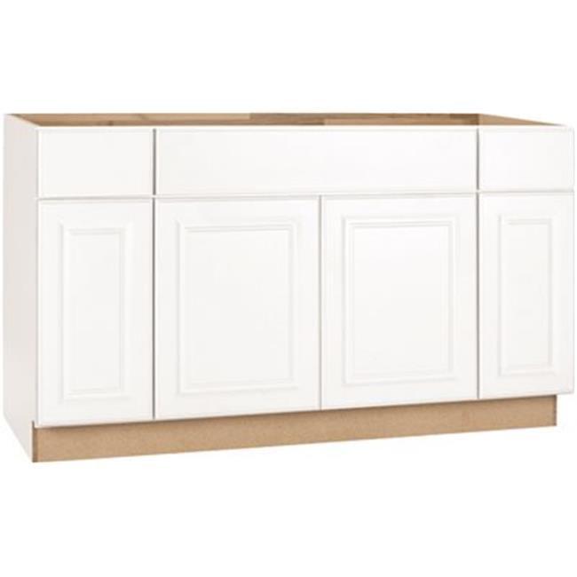 Hampton Bay 2478259 Hampton Assembled 60x34 5x24 In Sink Base Kitchen Cabinet In Satin White Walmart Com Walmart Com