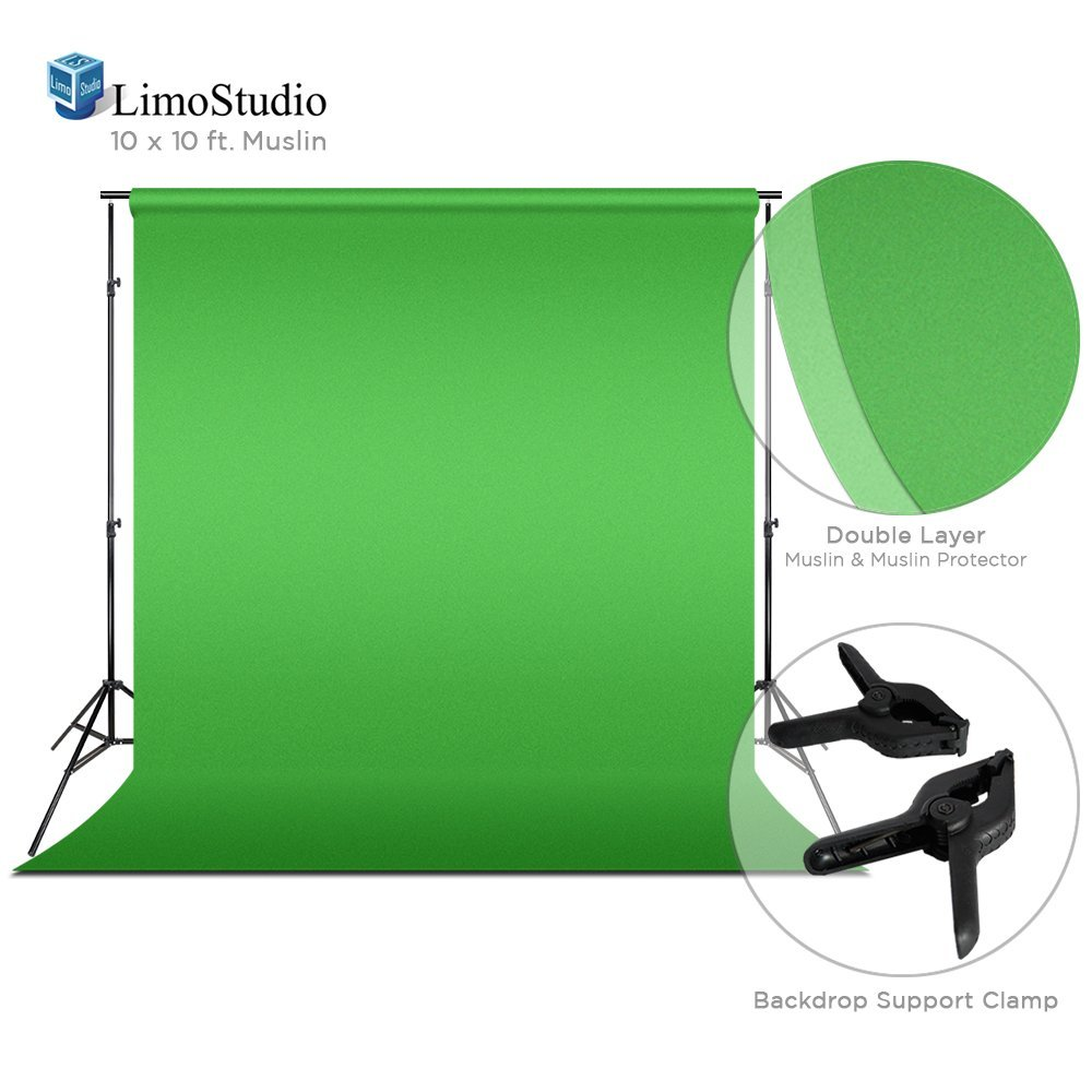 Loadstone Studio Green Chromakey Photo Video Studio Fabric Backdrop 10 x 10 ft. with Backdrop Support Structure Stand System, Photo Spring Clamp, Background Screen, Pure Green Muslin, WMLS4205
