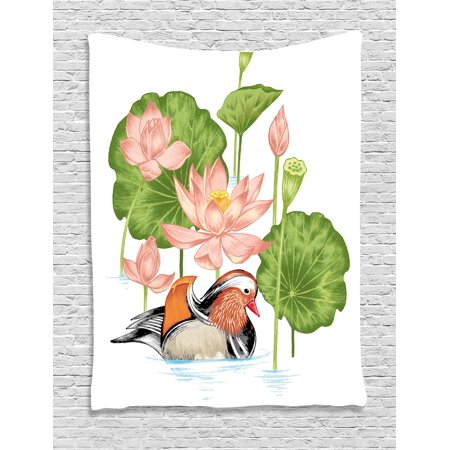 Rubber Duck Tapestry, Baby Mandarin Duckling in Pond with Lotus Lily Flowers Water Painting, Wall Hanging for Bedroom Living Room Dorm Decor, White Green and Pink, by Ambesonne (Mandarin Hanging)