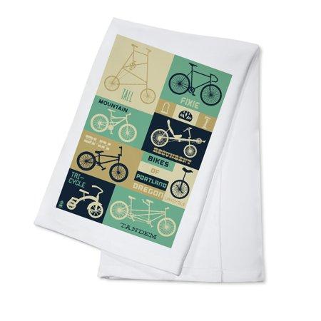Portland, Oregon - Bicycle Types (Blues) - Lantern Press Artwork (100% Cotton Kitchen - Blues Kitchen Camden Halloween