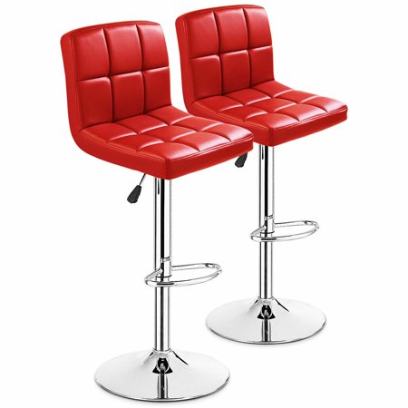 Costway Set Of 2 Bar Stools PU Leather Adjustable Barstool Swivel Pub Chairs Red