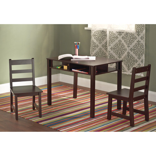 Kids' Table and Chairs Set, Espresso
