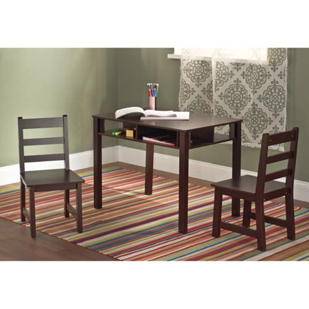kids 39 table and chairs set espresso. Black Bedroom Furniture Sets. Home Design Ideas