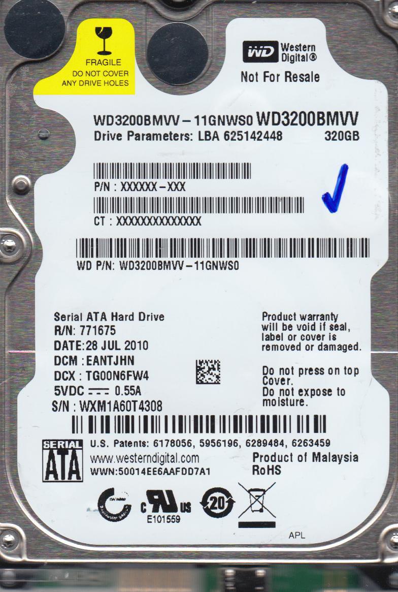 WD3200BMVV-11GNWS0, DCM EANTJHN, Western Digital 320GB USB 2.5 Hard Drive by WD