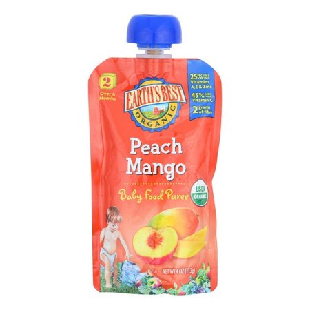 Earth's Best Organic Peach Mango Baby Food Puree - Stage 2 - Pack of 12 - 4