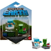 Minecraft Earth Boost Mini Defending Alex & Mining Creeper Figure 2-Pack, NFC Chip Enabled For Play With Minecraft Earth Augmented Reality Mobile Device Game, Toys For Girls And Boys Age 6 And Up