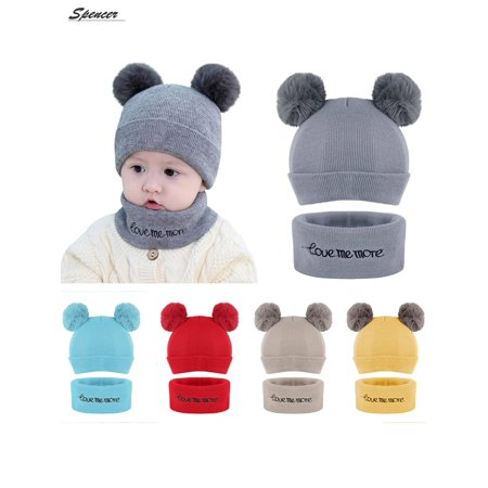 700b6db5fe3 Spencer - Spencer Baby Winter Warm Pom Pom Beanie Hat Scarf Set ...