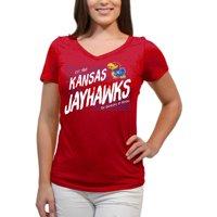Kansas Jayhawks Scatter Doodle Women'S/Juniors Team Short Sleeve V Neck Tee Shirt