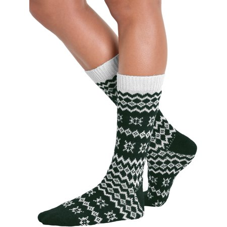 Womens Crew Socks Wool Cashmere Blend Print Black Red Hunter (Printed Wool Blend)