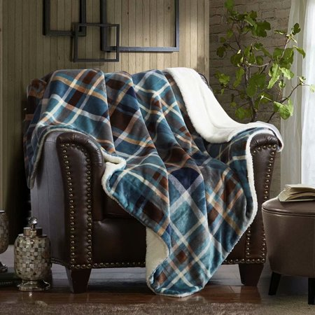 Outstanding Merrylife Sherpa Throw Blanket Plush Fleece 60 X 70 Comfort Soft Home Decorative Couch Blankets Travel Use Blue And Brown Plaid Cjindustries Chair Design For Home Cjindustriesco