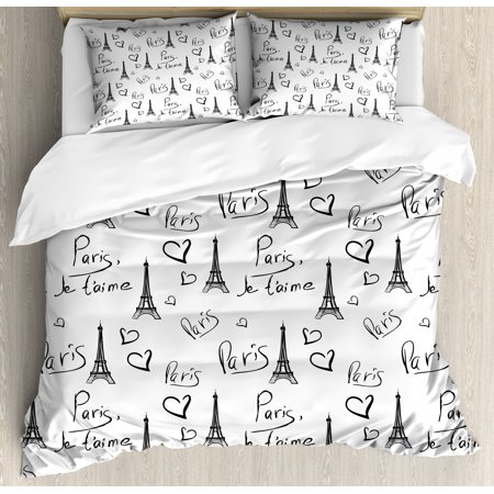 Paris Duvet Cover Set, World Capital City of Love French European Hand Drawn Sketch Eiffel Illustration, Decorative Bedding Set with Pillow Shams, Black White, by - Paris City Size